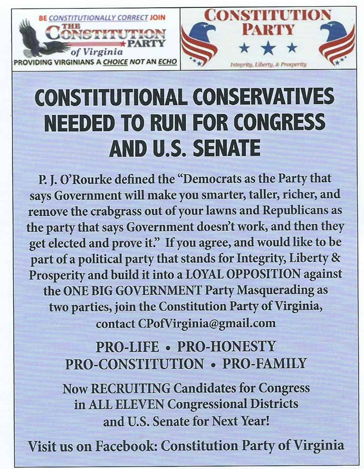 Run under the banner of the Constitution                         Party of Virginia